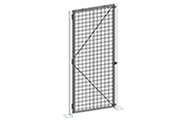 "All single swing gates are equipped with a padlock hasp, hinges and door stoppers. Gates can be hinged in for different orientations (opening inwards or ouwards / swing left or right). Additional lock options are also available. Doors are made of 2"" x 2"" x 10 GA welded wire mesh framed in 1 1/4"" x 1 1/4"" x 12GA structural angle with two welded 1/2"" ø reinforcement rods from center to the corner."