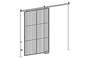 "Sliding security gates allow you to have a door opening in constricted areas. With a wide selection of dimensions, sliding gates are ideal for heavy or large equipment and storage access. All sliding gates are equipped with a padlock hasp. Additional lock options are also available. Doors are made of 2"" x 2"" x 10 GA welded wire mesh framed in 1 1/4"" x 1 1/4"" x 12GA structural angle with two welded 1/2""ø reinforcement rods."