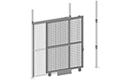 "When a wide opening and full height clearance are required for forklift access, nothing works better than a Cogan tunnel gate. All tunnel gates are equipped with a padlock hasp and heavy-duty 5"" soft rolling casters. The top track guide allows for easy slide maneuverability, while the strong bolted steel handle offers a sturdy grip. Doors are made of 2"" x 2"" x 10 GA welded wire mesh framed in 1 1/4"" x 1 1/4"" x 12GA structural angle with two welded 1/2"" ø reinforcement rods."