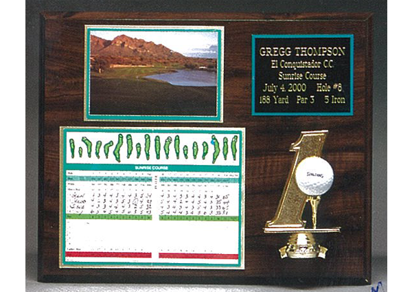 1911 custom hole in one plaque with scoreboard and ball