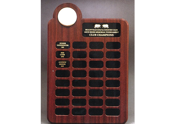 1505 roster plaque with golf ball