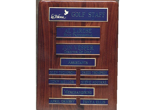 1503 customized staff plaque