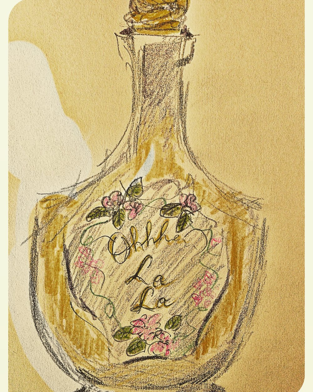 Memories are made of this - the shape and elegant line of a perfume bottle, the label, the stopper and the provocative ghost of fragrance... Illustration by Heather Phillips
