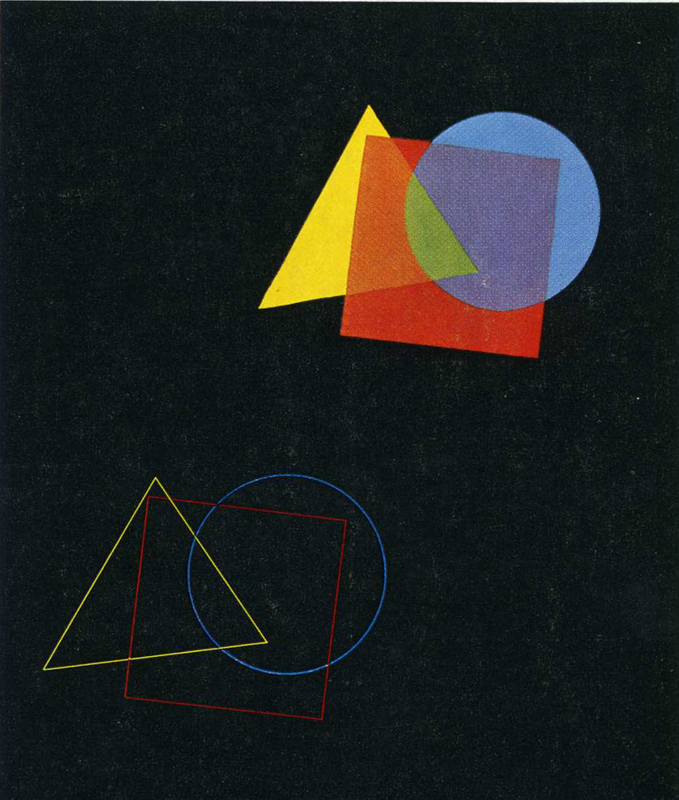 Eugen Batz. Exercise for color-theory course taught by Vasily Kandinsky. 1929–30. Tempera over pencil on black paper. Bauhaus-Archiv Berlin  http://www.moma.org/explore/inside_out/2010/01/20/lessons-from-the-bauhaus
