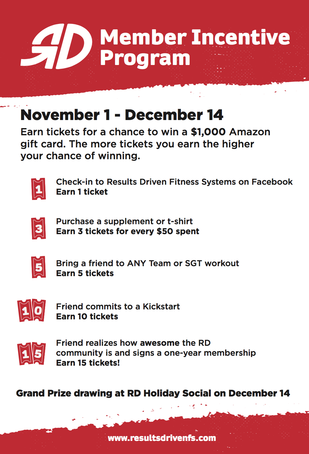 RD's Member Incentive Program - Here's your chance to win a $1000 Amazon Gift Card just by taking advantage of your membership! Here's how it works:There are 5 ways you can earn tickets:1)