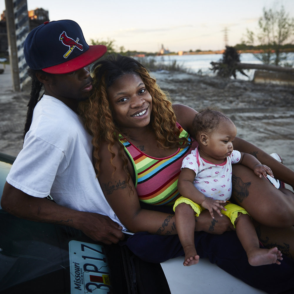 Eboni Doss and Gregory Doss with their daughter D'Mylaa Doss found at the Riverfront near the old casino on May 14, 2017 Mother's Day.