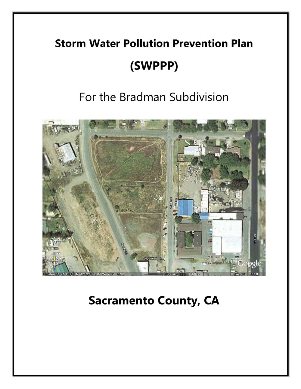 2006   Storm Water Pollution Prevention Plan (SWPPP) for Bradman Subdivision