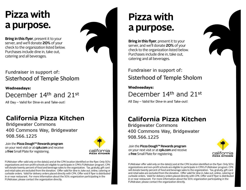 Sisterhood California Pizza Fundraiser — Temple Sholom