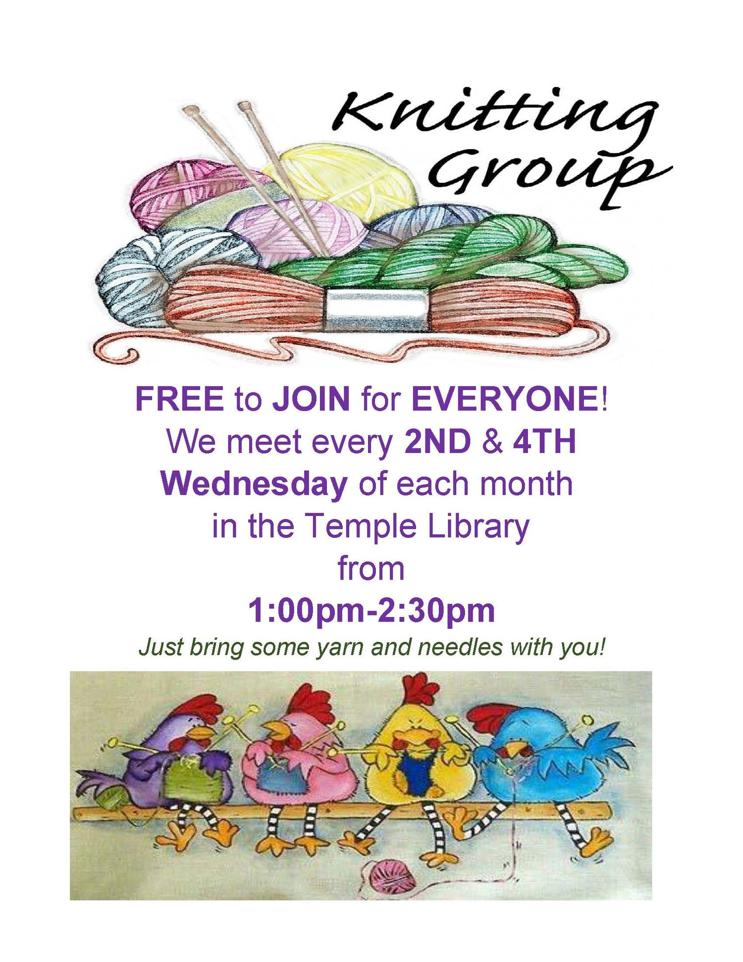 Knitting Group — Temple Sholom