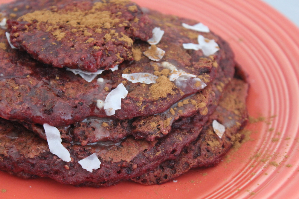 Vegan, gluten-free, refined sugar free Beet Pancakes
