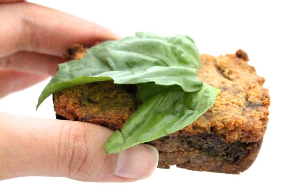 gluten-free, dairy free, refined sugar free carrot flour and basil pesto mini loaf