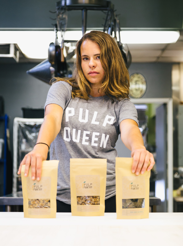 Kaitlin Mogentale, Pulp Queen and co-founder of Pulp Pantry with the Grain-Free, Paleo, Raw, Gluten-free, Organic, Local, Plant-based, dairy-free, refined-sugar free granola