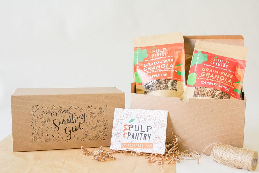 Pulp Pantry Grain-Free, Paleo, Raw, Gluten-free, Organic, Local, Plant-based, dairy-free, refined-sugar free granola and gift box