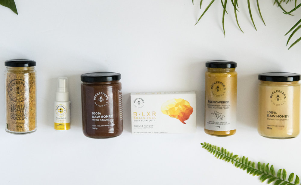 Carly's line-up of bee products — the secret to years without a cold!