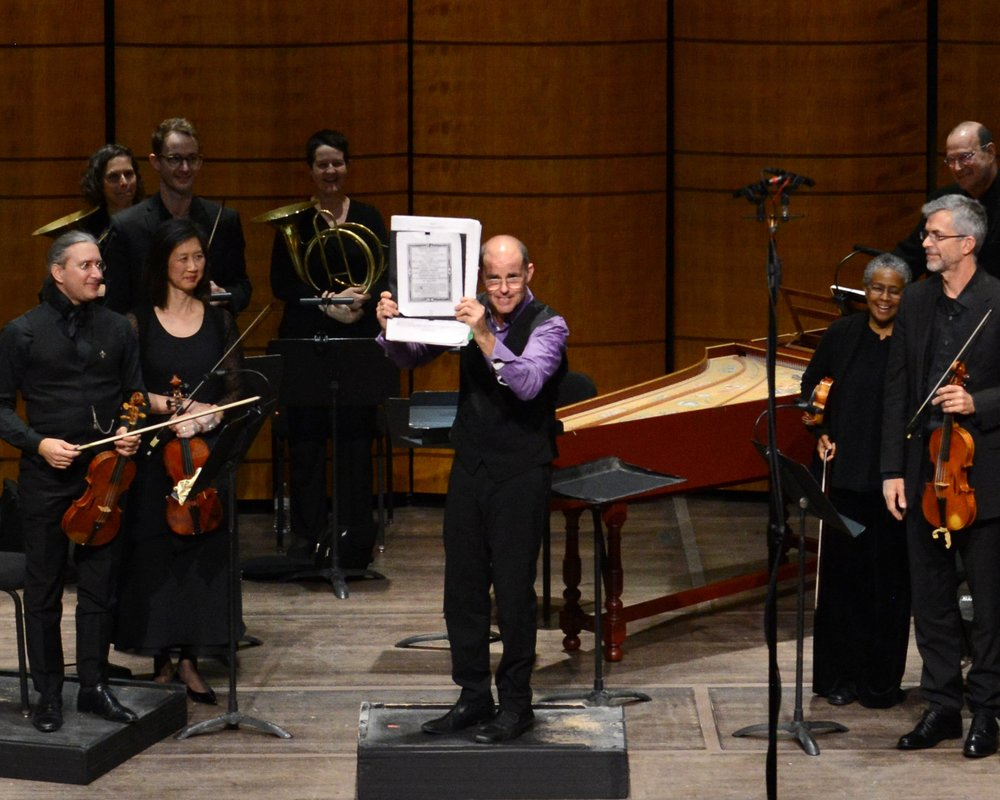 Charles Brink with Jommelli's Score Takes a Bow after Opera Lafayette's CERERE PLACATA.jpg