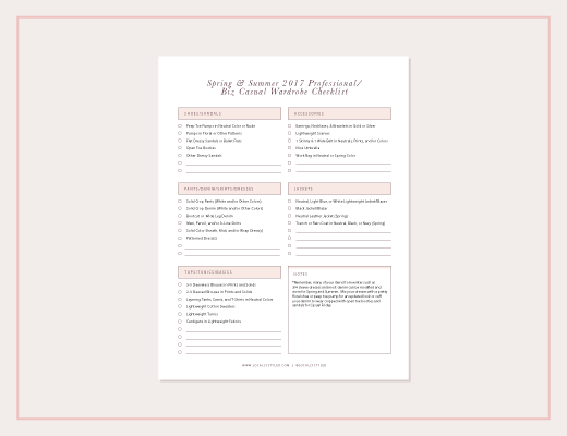 Spring Summer 2017 Wardrobe Checklist
