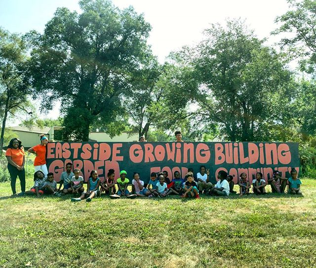 The #EastSideGarden signs are finished and up thanks to our amazing MLK Jr. Park Summer Camp crew!  #mlkjrparkneighborhood #eastsidedesmoines #DesMoines #Iowa #UrbanAgriculture #CommunityGarden #VivaEastBank #EastSidePride