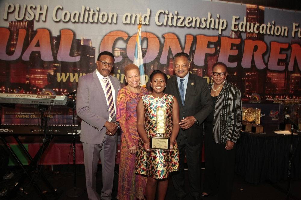 "Recipient of the ""Outstanding Humanitarian Achievement Award"" from Rev. Jesse Jackson at Rainbow Push Coalition's 45th Annual International Conference"