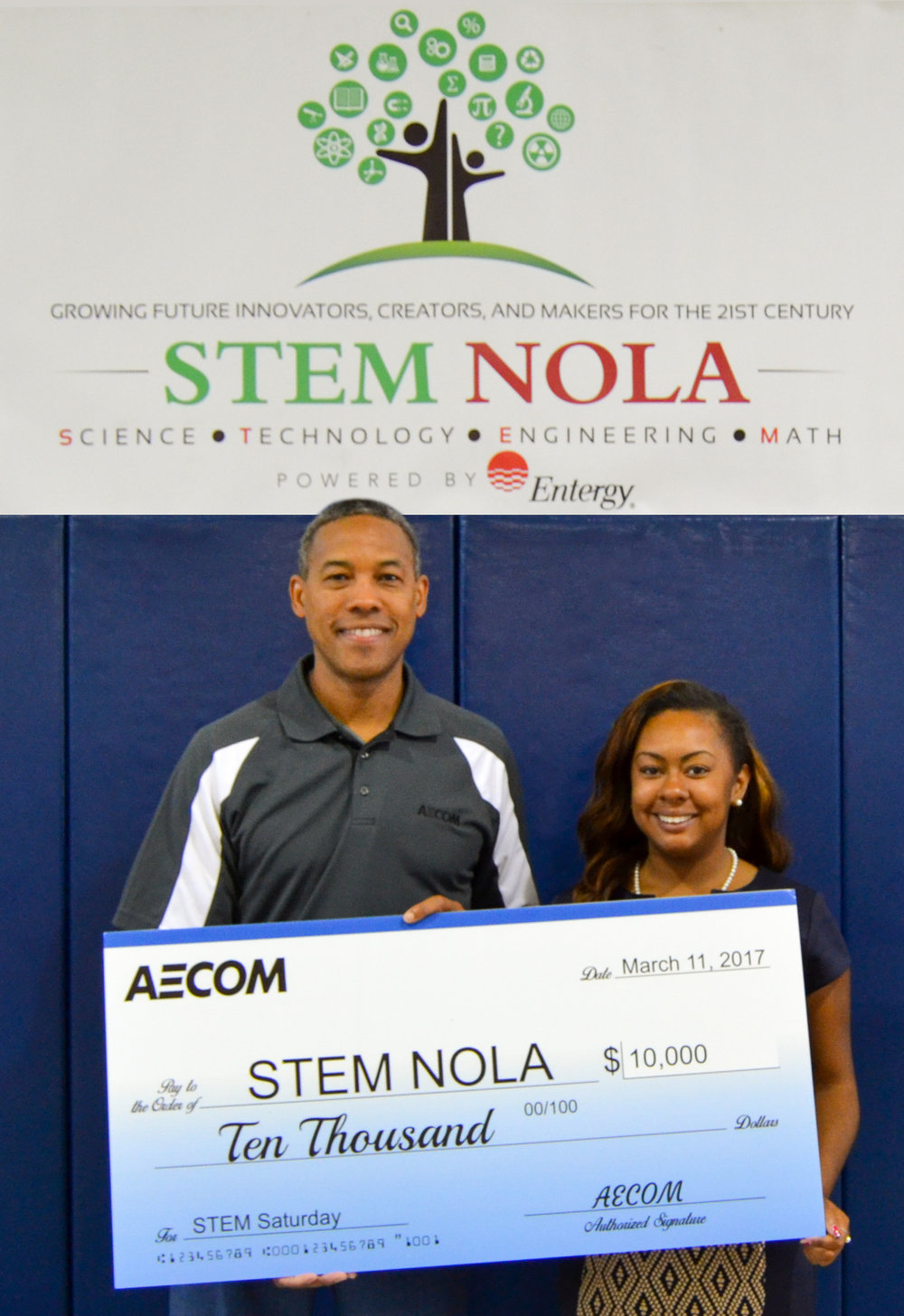 VP of AECOM Tyler Jones and I at a STEM NOLA event with the $10K check which I helped solicit from the company