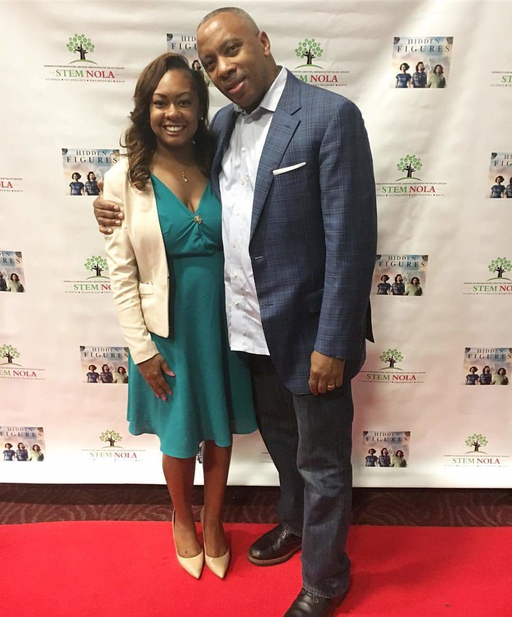 Dr. Mackie (Founder of STEM NOLA) & I at STEM NOLA's Private Screening of Hidden Figures which was planned my me