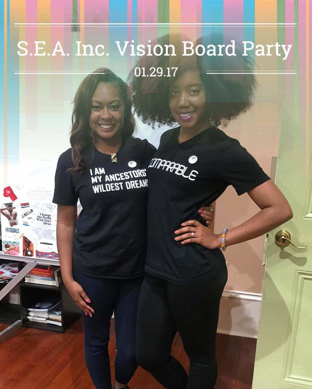 Tia Bernard (Founder of 8th Count Dancer, LLC) & I at our Vision Board Party at Raintree Foster Home