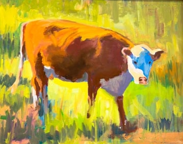 Cow in the Field Painting