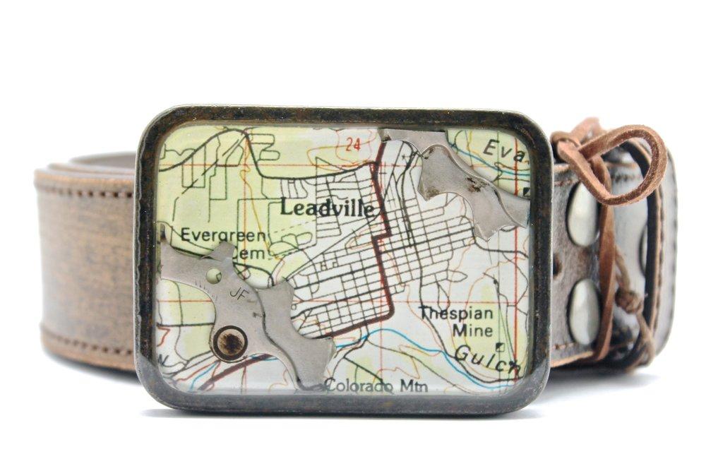 Leadville Map + Bike Gear Belt Buckle
