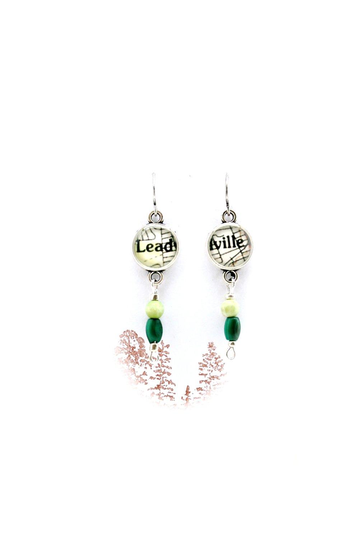 Leadville Map + Stone Earrings | Dangle