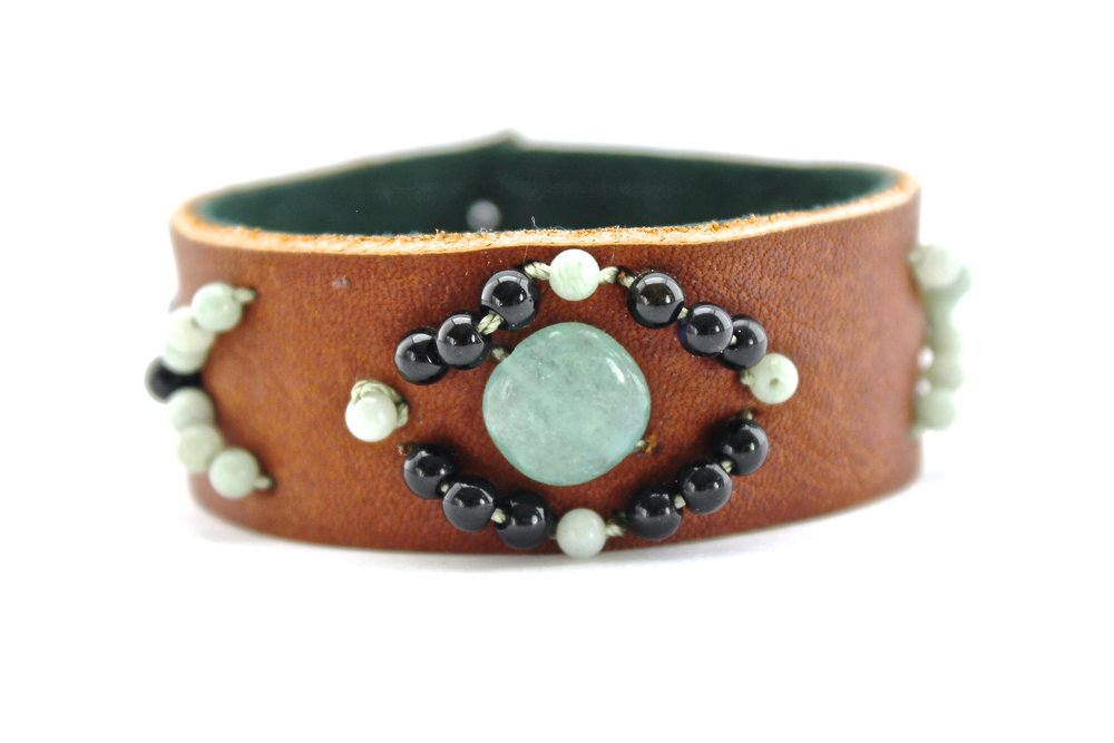 Leather + Bead Cuff