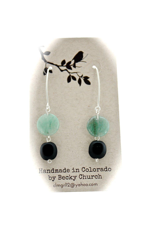 Blue + Black Stone Earrings