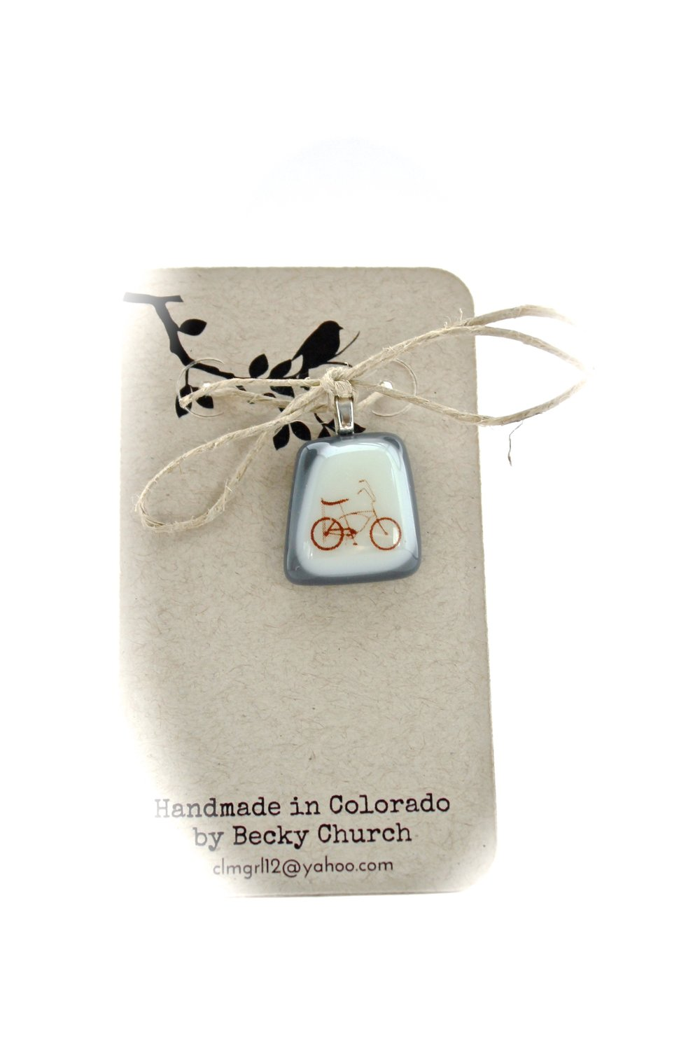 Bicycle Glass Pendant