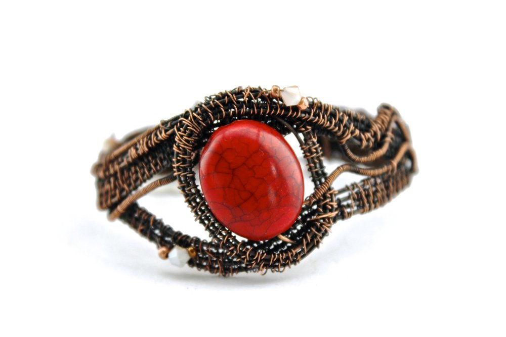 Red Stone + Wire Warp Bracelet