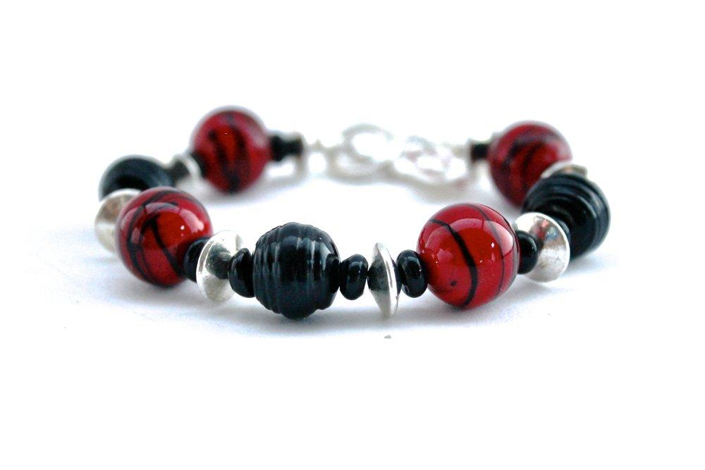 Black + Red Beaded Bracelet