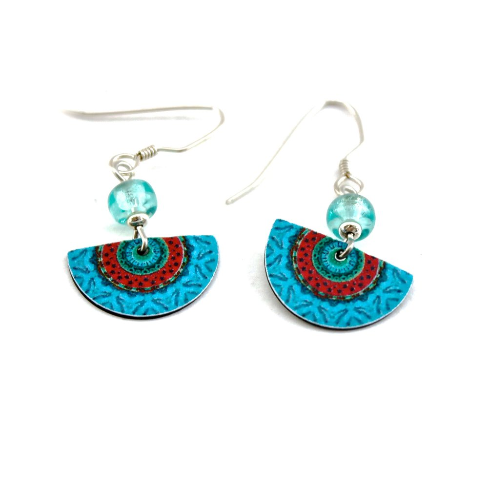 Half Circle Earrings | Blue & Red