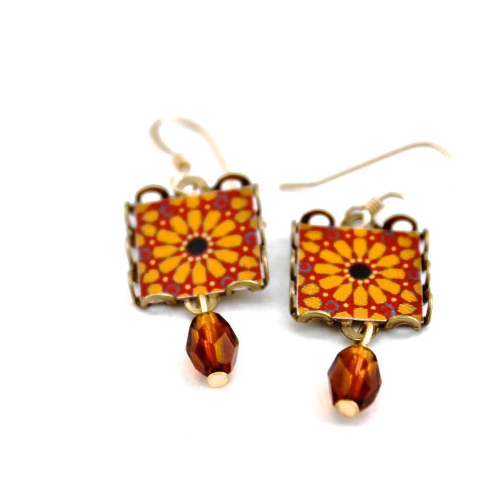 Flower Earrings | Orange