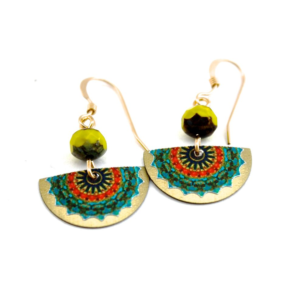 Half Circle Earrings | Green & Red