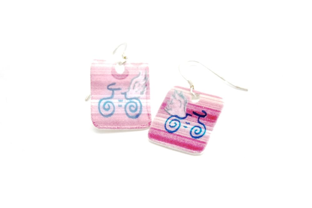 Guardian Angel Earrings | Pink Striped