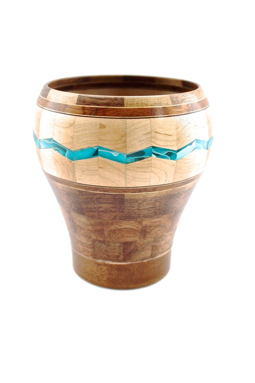 Turquoise Chevron Vase
