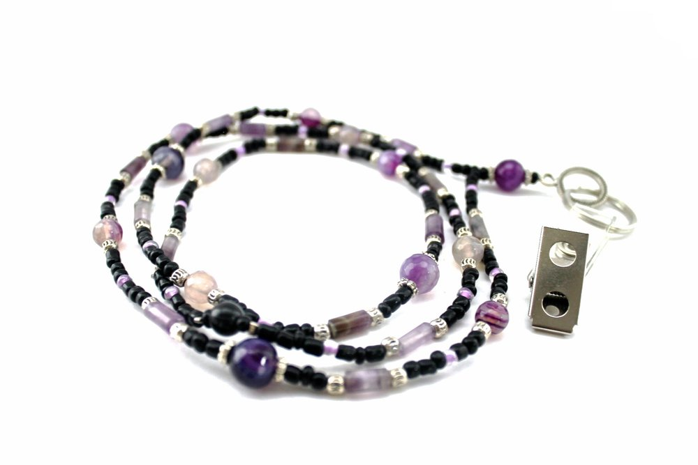 Beaded Lanyard | Purple