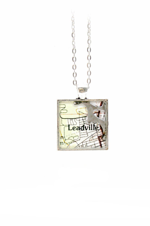 Leadville Map + Bike Gear Necklace