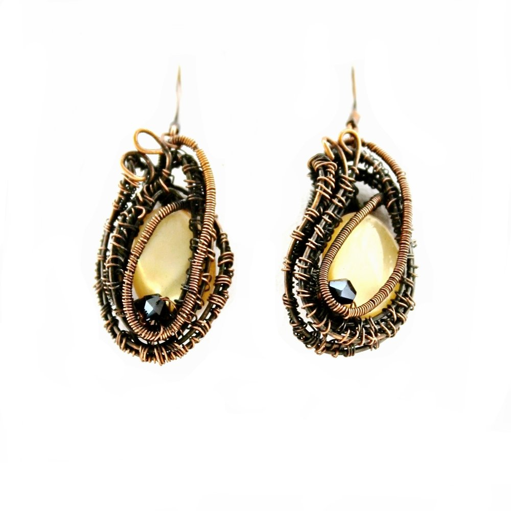 Yellow Stone + Wire Warp Earrings