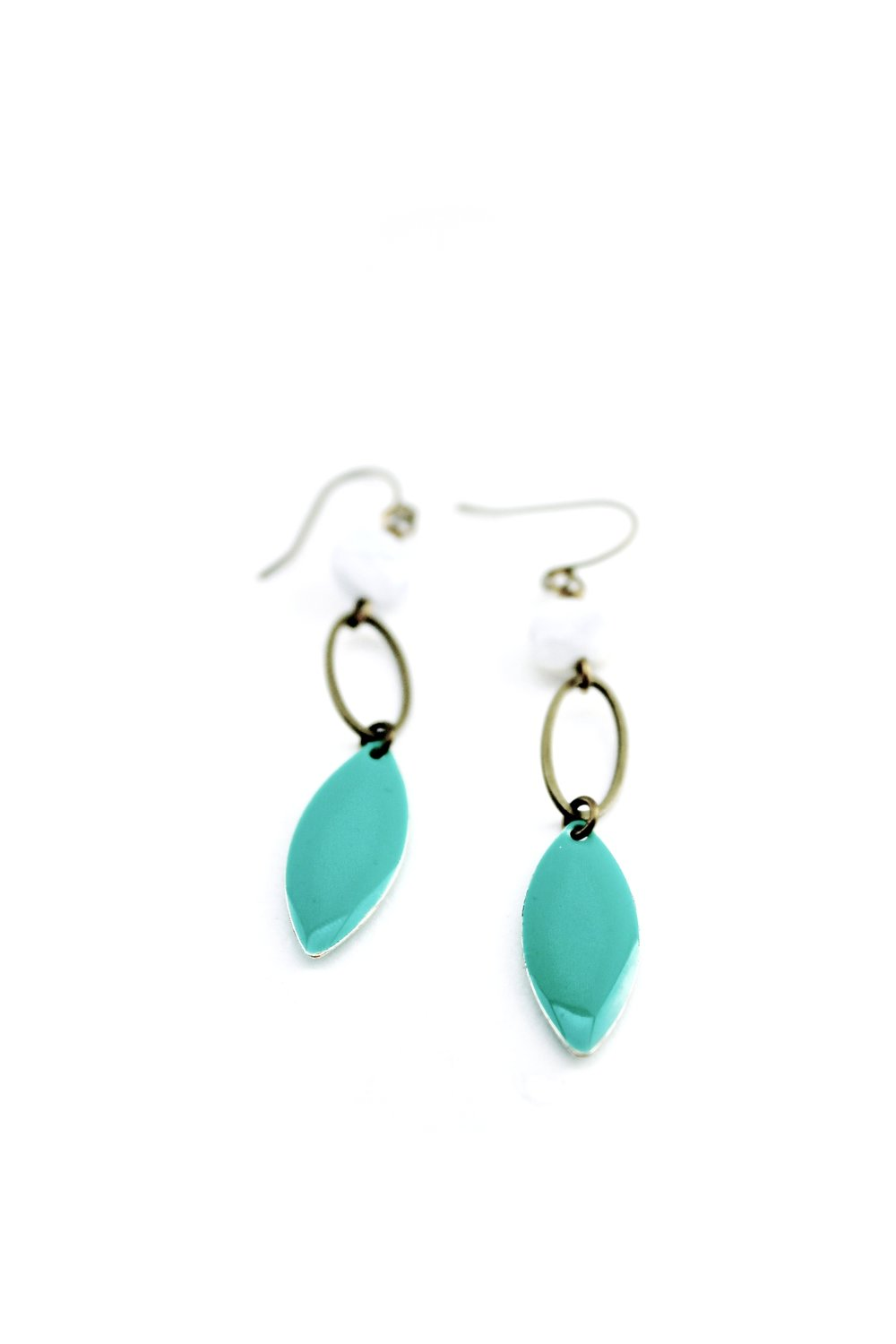 White Jade & Turquoise Enamel Drops | Downtown