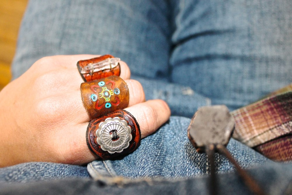 Leather Rings Shown on Hands