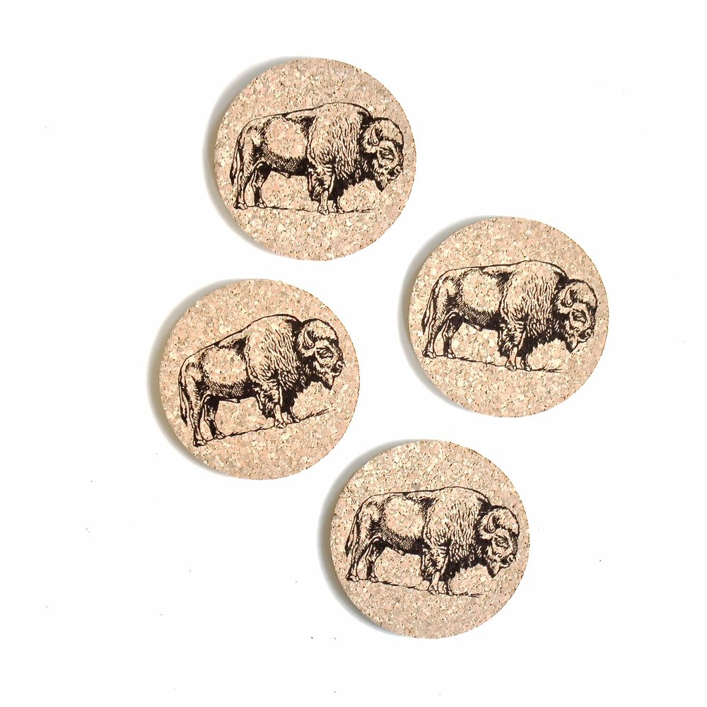 Bison Coasters - Set Of Four