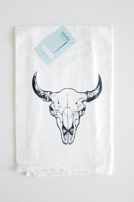 Buffalo Skull Tea Towel