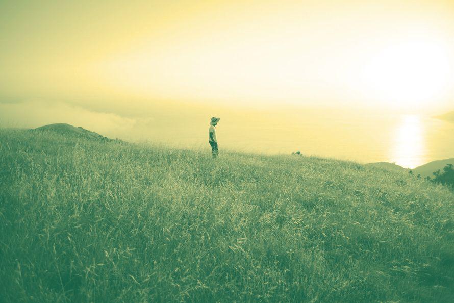 Lone guy in field