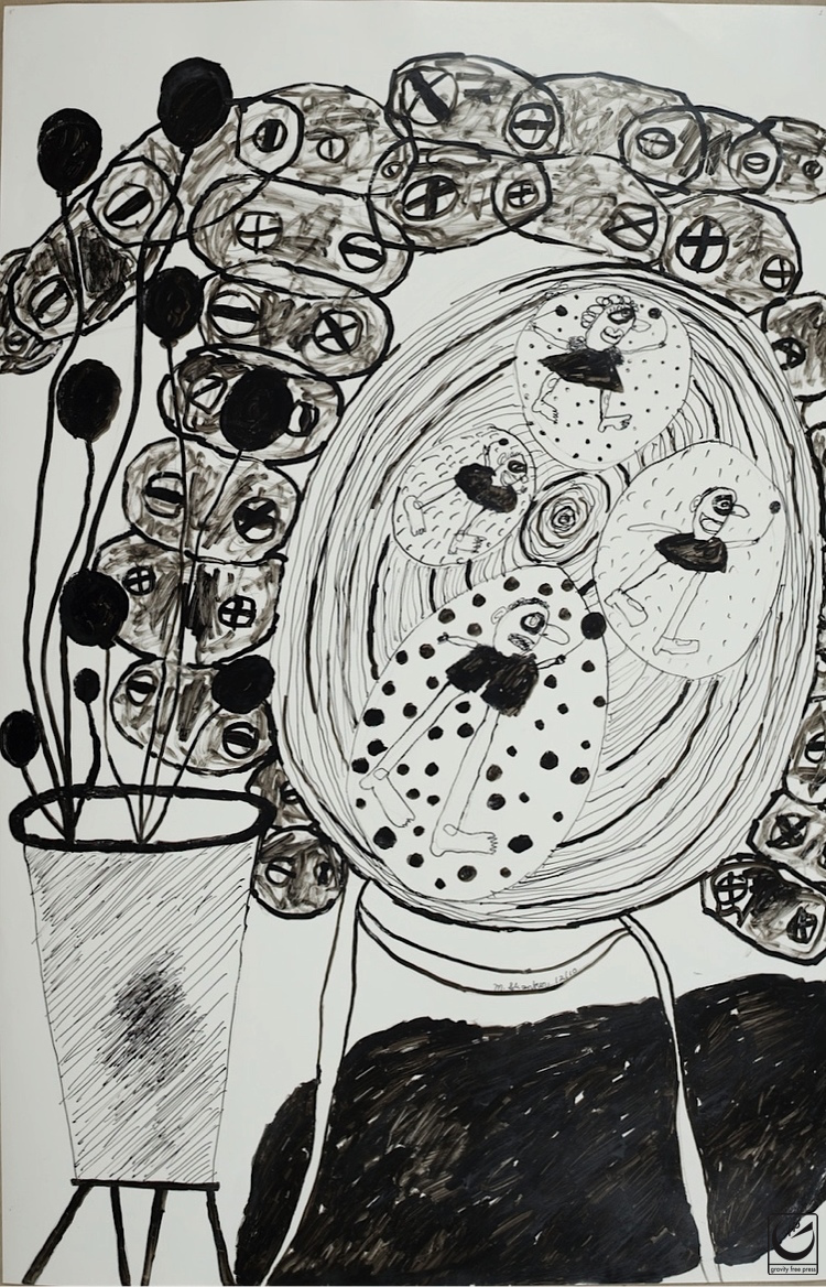 Still Life with Gears, India Ink, 22 x 30""