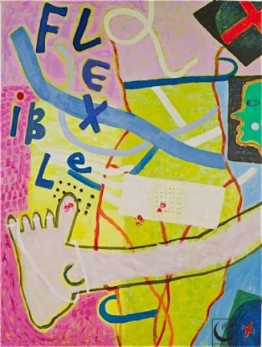 Flexible Bandaid, 2011. Acrylic on Canvas, 3' x 4'