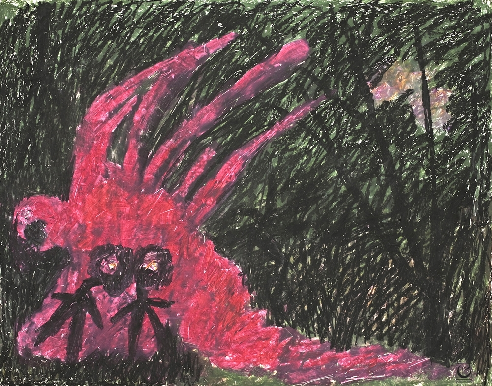 """ANGEL OF DEATH, 22"""" X 30,"""" Wax Crayon on paper, 2013"""
