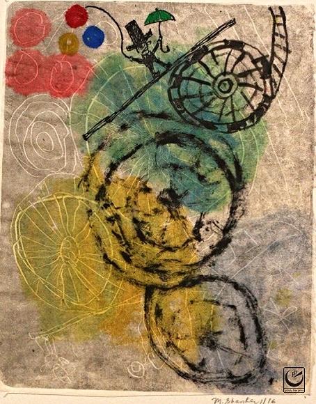 "It's a Ride, Monotype, Gouche + wax crayon. 8 x 10,"" 2015"